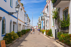 Pedestrian alley in the harbor area of Puerto de Mogan, Gran Canaria Royalty Free Stock Photography