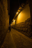 Pedestrian alley by night in Cusco, Peru Stock Photos