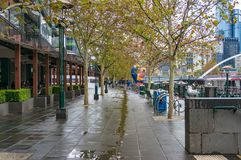 Pedestrian alley on rainy autumn day Stock Photo