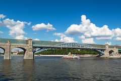 Pedestrian Andreevsky bridge in Moscow Royalty Free Stock Photo
