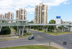 Pedestrian aqueduct in a residential area of Burgas, Bulgaria stock photography