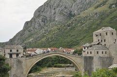 A pedestrian arch bridge across the Neretva River in Mostar, Bosnia and Herzegovina Stock Photography