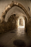 Old Jerusalem Tunnel. A pedestrian arched tunnel in the Jewish quarter of the old city of Jerusalem, Israel Royalty Free Stock Images