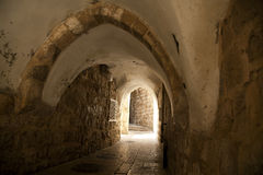 Old Jerusalem Tunnel. A pedestrian arched tunnel in the Jewish quarter of the old city of Jerusalem, Israel Royalty Free Stock Photo