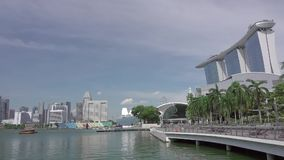 Pedestrian Area and Marina Bay in Singapore. Fast Motion stock video