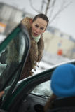 Pedestrian argues with car driver Stock Photo