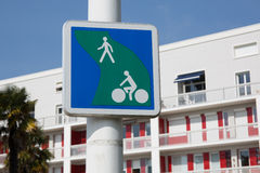 Pedestrian and bicycle crossing sign. Stock Photos