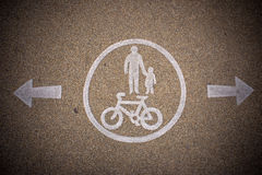 Pedestrian and bicycle dedicated lane signs Royalty Free Stock Photography