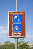 Pedestrian and bicycle path signal Royalty Free Stock Images