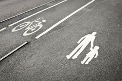 Pedestrian and bicycle reserved lanes Stock Photography