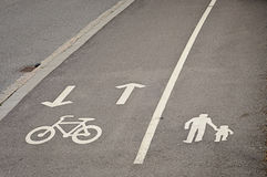 Pedestrian and bicycle reserved lanes Stock Image