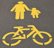 Pedestrian and bicycle road signs Royalty Free Stock Photography