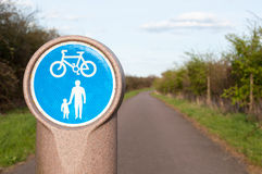 Pedestrian and bicycle shared lane sign. Stock Photos