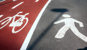 Pedestrian and bicycle signs Royalty Free Stock Image