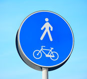 Pedestrian and bike lane sign Stock Images