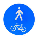 Pedestrian and bike lane sign on white Royalty Free Stock Photos