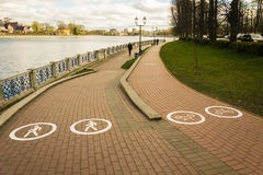 Pedestrian and bike path in the park. A bike path and a footpath in the park near the Lower Pond in Kaliningrad Royalty Free Stock Photos
