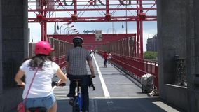Pedestrian and Bike Path stock footage