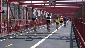 Pedestrian and Bike Path stock video footage