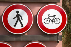 Pedestrian and Bike Prohibition Traffic Sign Stock Photography