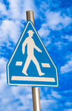 Pedestrian blue traffic sign Royalty Free Stock Photo