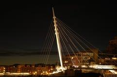 Pedestrian Bridge. A pedestrian bridge in Lower Downtown Denver looks like a ship's mast Royalty Free Stock Image