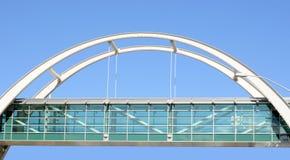 Pedestrian bridge. Glass Wall Street Overpass / Pedestrian Bridge Royalty Free Stock Photography