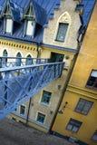 Pedestrian bridge. Old building in Sodermalm, Stockholm. Steel walk bridge leading to house entrance on 3d floor Royalty Free Stock Photography