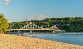 The Pedestrian Bridge across the Dnieper in Kiev, the capital of Ukraine. The Pedestrian Bridge across the Dnieper river in Kiev, the capital of Ukraine Stock Photos