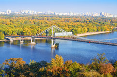 Pedestrian bridge across the Dnieper River Royalty Free Stock Images