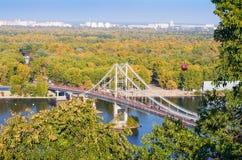 Pedestrian bridge across the Dnieper River Stock Image