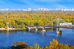 Pedestrian bridge across the Dnieper River Stock Images