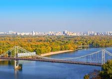 Pedestrian bridge across the Dnieper River Stock Photos