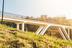 Pedestrian bridge across the ravine. A sunny summer day Royalty Free Stock Images