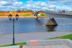 Pedestrian bridge across the river royalty free stock photos