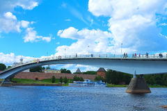 Pedestrian Bridge Across River Volkhov. Veliky Novgorod, Russia. Stock Photos