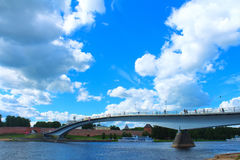 Pedestrian Bridge Across River Volkhov. Veliky Novgorod, Russia. Stock Photography