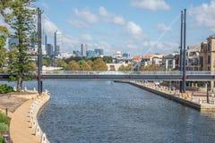 Pedestrian bridge across Swan river small harbour in East Perth. Suburb, Western Australia Stock Photos