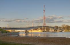 Pedestrian bridge across the Volkhov river Stock Photos