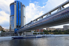Pedestrian bridge Bagration, Moscow, Russia Royalty Free Stock Photos