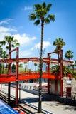 Pedestrian bridge - Barcelona Harbour Stock Photo