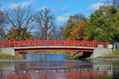 A pedestrian bridge on Belle Isle, Detroit. Renovated bridge on beautiful Belle Isle Park is part of the revitalization of Detroit royalty free stock images