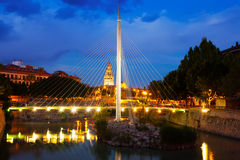 Pedestrian bridge with Cathedral  in night. Murcia, Spain Royalty Free Stock Photo