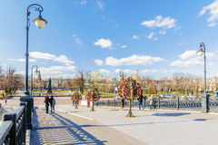 Pedestrian bridge in the center of Moscow, Russia Stock Image