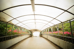 Pedestrian bridge construction landscape Royalty Free Stock Photo