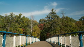 Pedestrian bridge in greenwood time - lapse. Bridge in the park with wonderful autumnal view on the river or lake wood with trees leaves bright colors like stock footage