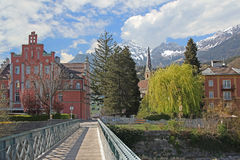Pedestrian bridge and idyllic scenery, innsbruck Royalty Free Stock Photo