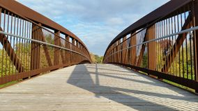 Pedestrian Bridge. Iron pedestrian bridge Stock Photo