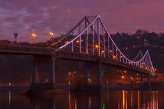Pedestrian bridge in Kiev at night Stock Image