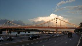 The pedestrian bridge in Kiev Royalty Free Stock Photo